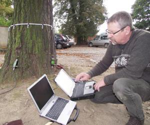 Podczas szkolenia prześwietlano pnie drzew przy pomocy specjalistycznego sprzętu